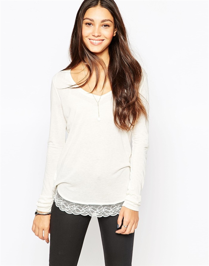 Esprit Lace Trim Long Sleeve Tee