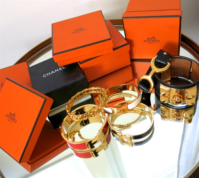 Hermes clic clac, Hermes collier de chien, chanel armband, Hermes Lether