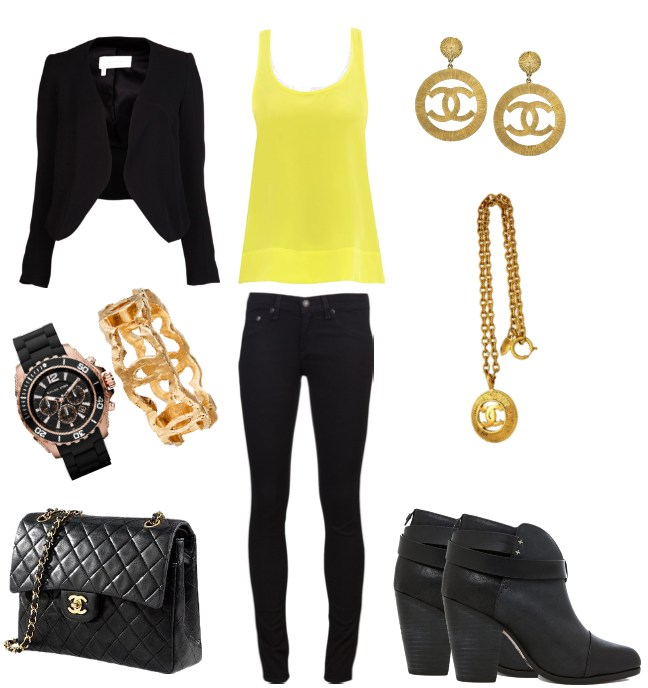 Outfit, black and yellow