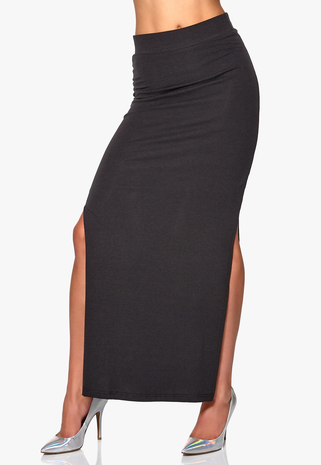 vila honesty maxi slit skirt black bubbleroom