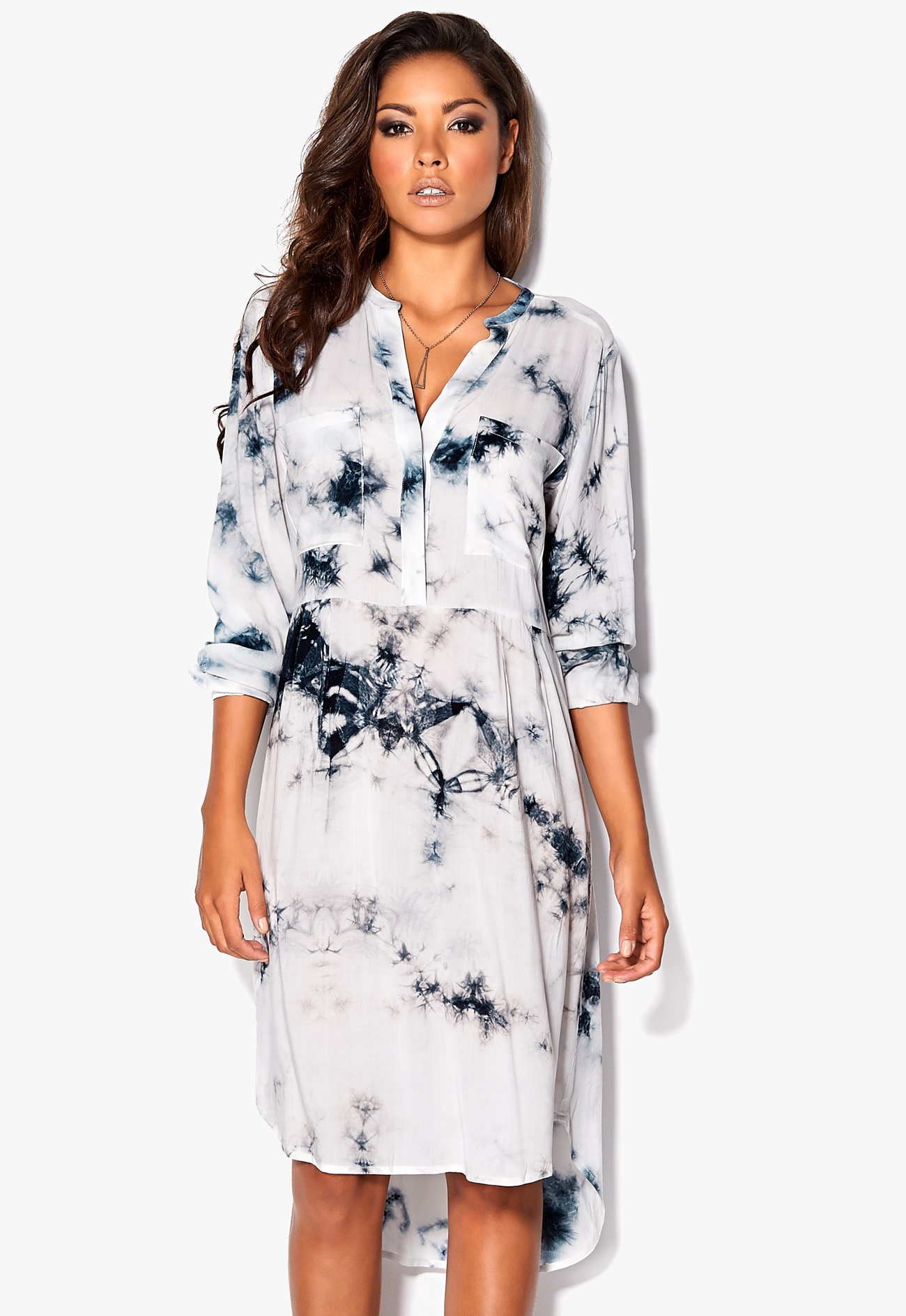 Chiara forthi oversized shirt dress in batik dark grey for Dark grey shirt dress