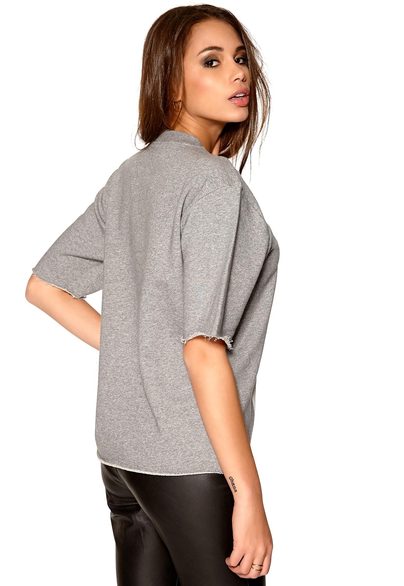 Back sweat banner t shirt grey marl bubbleroom for Grey marl t shirt