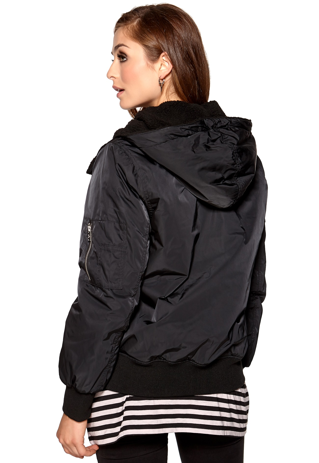 Women's Bomber Jacket - Deep Ruby / Side Slit Pockets / Zip front