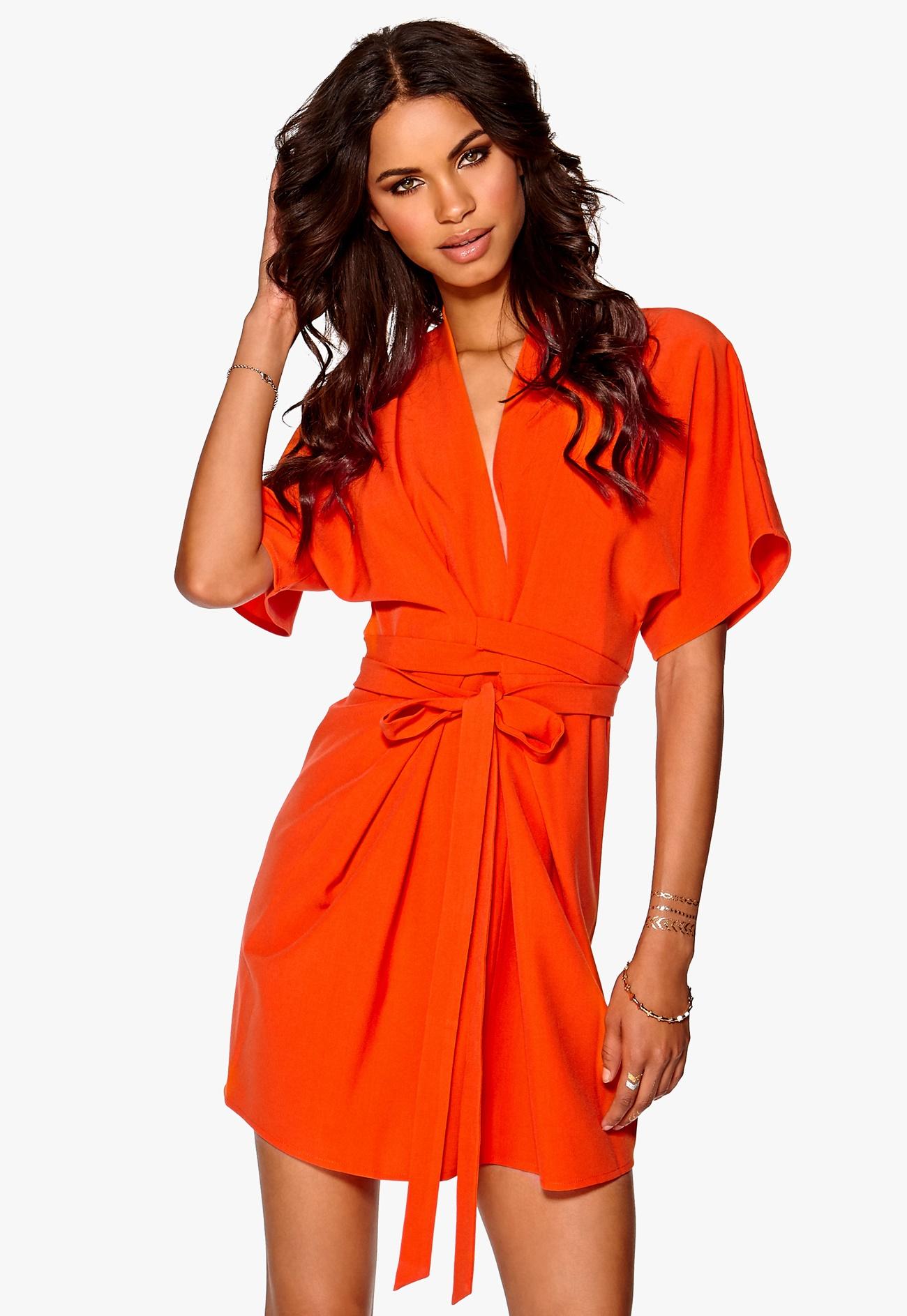 Make Way Karmen Kimono Dress Orange - Bubbleroom