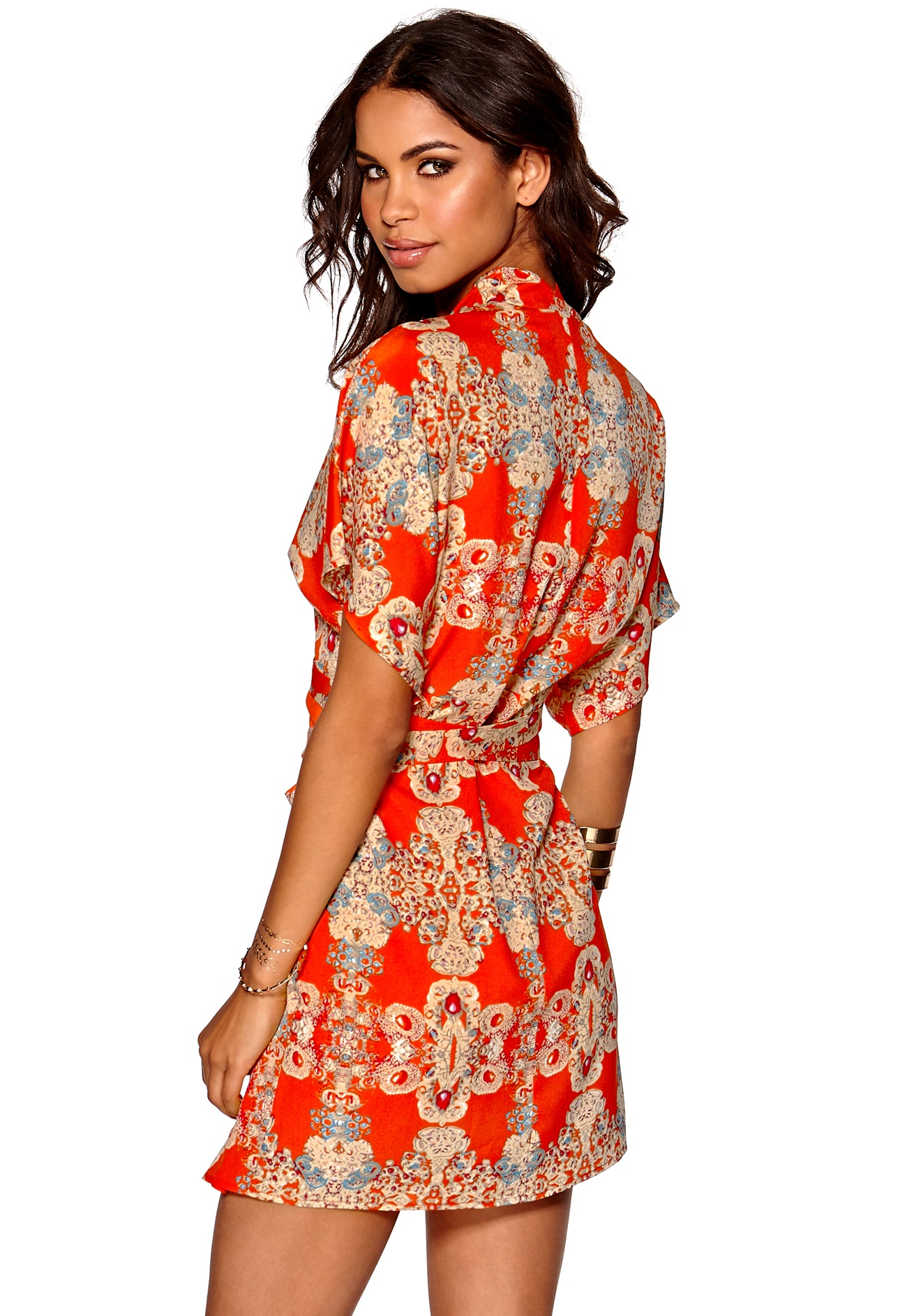 Make Way Karmen Kimono Dress Orange/Multi/Paisley - Bubbleroom