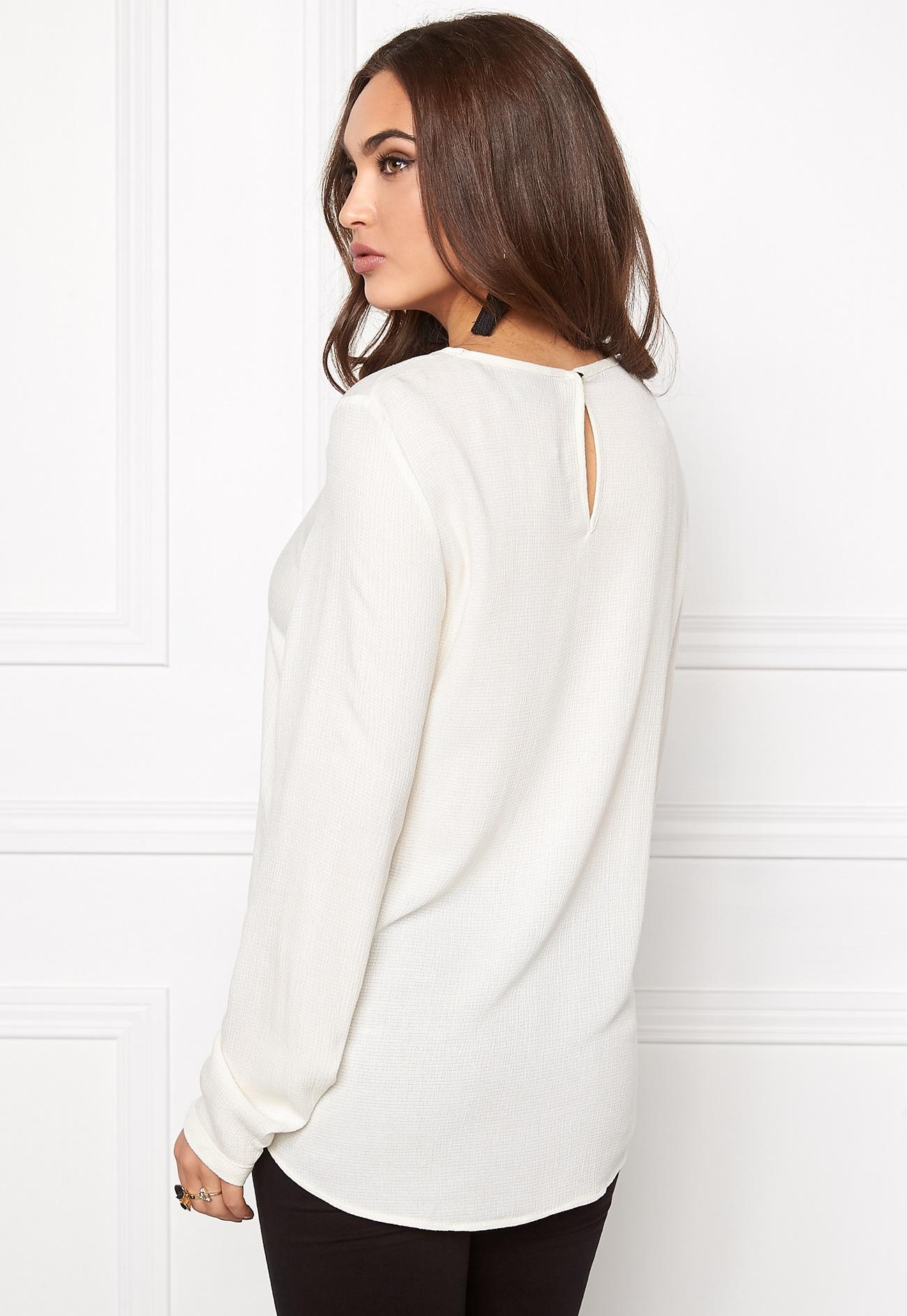vero moda asta ls blouse snow white bubbleroom. Black Bedroom Furniture Sets. Home Design Ideas