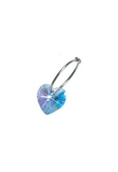 Blomdahl Blomdahl Caring Jewellery Natural Titanium Ear Ring Heart Aquamarine (14mm)  Bubbleroom.se