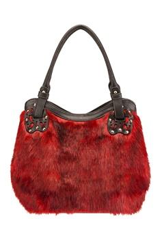 Have2have Handväska i fuskpäls, Win Röd, svart Bubbleroom.se