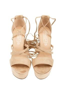 Truffle Lace Up Sandaletter, Julia Beige Bubbleroom.se