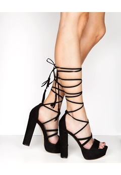 Truffle Lace Up Sandaletter, Julia Svart Bubbleroom.se