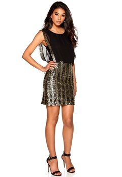 Model Behaviour Erika Dress Black/Gold Bubbleroom.se