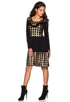 Chiara Forthi Knit Fur Collar Dress Black/Gold Bubbleroom.se