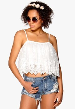 Mixed from Italy Mesh Flower Crop Top Cream Bubbleroom.se