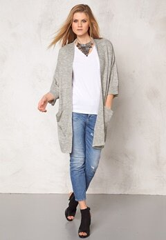 VILA Riva knit kimono Light Grey Melange Bubbleroom.se