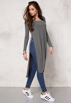 77thFLEA Santiago long top Light grey melange Bubbleroom.se