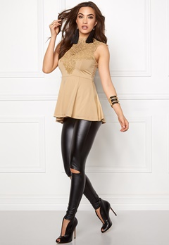 BUBBLEROOM Tamale peplum top Gold-coloured Bubbleroom.se