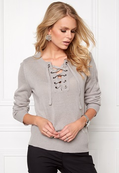 Jacqueline de Yong Gigi l/s pullover Light grey melange Bubbleroom.se