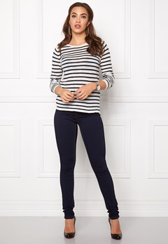 VILA Starly Stripe Knit Top Total Eclipse Bubbleroom.fi