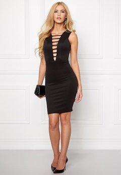 Goddiva Plunge Mini Dress Black Bubbleroom.se