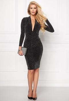 Goddiva Glitter Plunge Midi Dress Black Bubbleroom.se