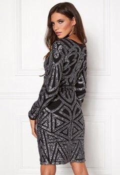DRY LAKE Universe Sleeve Dress Blacksilver Beading Bubbleroom.se