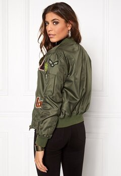 Sisters Point Lusa Patch Bomber Jacket Olive Green Bubbleroom.se
