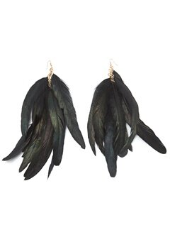 77thFLEA Feather earrings Black Bubbleroom.se