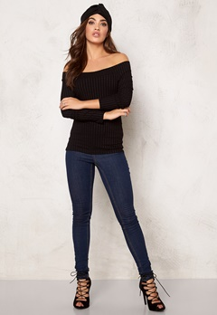 77thFLEA Rib offshoulder top Black Bubbleroom.se