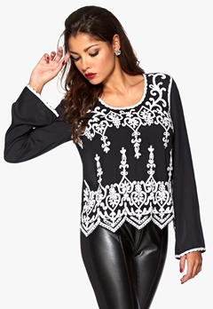 Chiara Forthi Hand Embroidered Blouse Black/White Bubbleroom.se