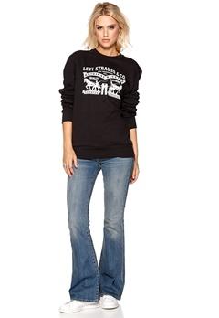 LEVI'S Graphic Crew Sweater Graphic Black Bubbleroom.se