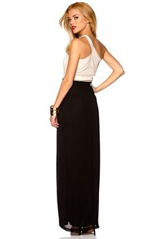 Mixed from Italy Jewel One Shoulder Maxi Dress Champagne/Black Bubbleroom.se