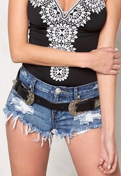 77thFLEA LA double buckle belt Black/Silver Bubbleroom.se