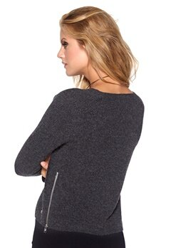 Boomerang Risbo cropped rib sweater 097 Dk grey melange Bubbleroom.se