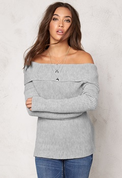 77thFLEA Brixia knitted sweater Light grey melange Bubbleroom.se