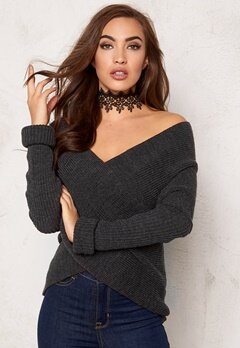 BUBBLEROOM Brixia knitted sweater Anthracite grey melange Bubbleroom.se