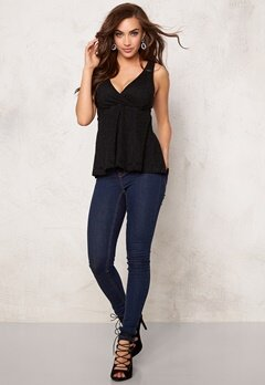 BUBBLEROOM Roma peplum top Black Bubbleroom.se