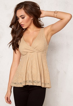 BUBBLEROOM Roma peplum top Gold-coloured Bubbleroom.se
