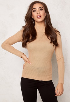 BUBBLEROOM Understated knitted rib polo Camel Bubbleroom.se
