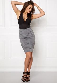 BUBBLEROOM Wrinkled skirt Grey melange Bubbleroom.se