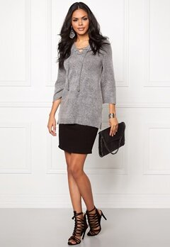 b.young Oyester v-neck Sweater Med.grey Melange Bubbleroom.se
