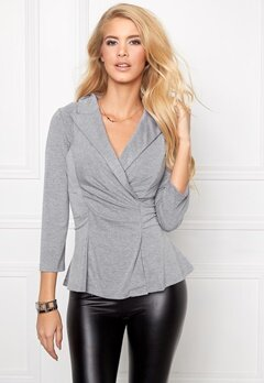 Chiara Forthi Blazer Style Jersey Top Grey melange Bubbleroom.se