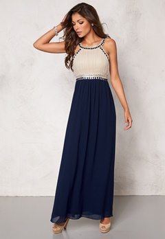 Chiara Forthi Dalilah Embellished Dress Beige/Blue Bubbleroom.se