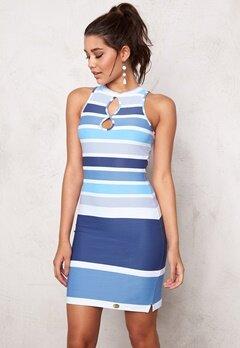Chiara Forthi Double Keyhole Dress Blue/White Bubbleroom.se