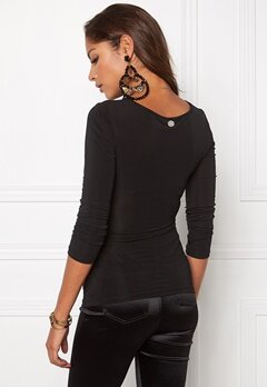 Chiara Forthi Emmy Draped Top Black Bubbleroom.se