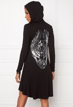 Chiara Forthi Hooded Sequin Tunic Black/Silver Bubbleroom.se