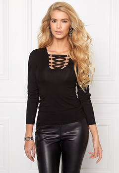 Chiara Forthi Lace Up Top Black Bubbleroom.se