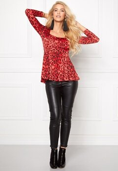 Chiara Forthi Leo Peplum Top Red/Black Bubbleroom.se
