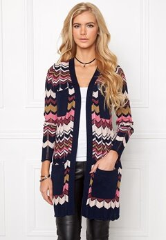 Chiara Forthi Pointelle Cardigan Dark blue/Patterned Bubbleroom.se