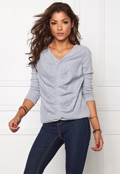 Chiara Forthi Ribbed Pleat Top Marled Grey Bubbleroom.se