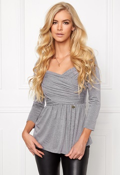 Chiara Forthi Rochelle Gathered Top Marled Grey Bubbleroom.se